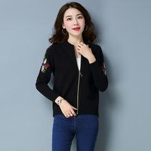 2018女装韩版秋季新款开衫刺绣针织棒球服女拉链短款潮毛衣外套女
