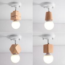 速卖通北欧创意实木方杯灯简约现小吸顶灯阁楼玄关门厅床头走道灯