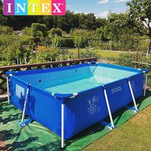intex超大號家庭成人支架游泳池家用加厚大型兒童充氣水池釣魚池