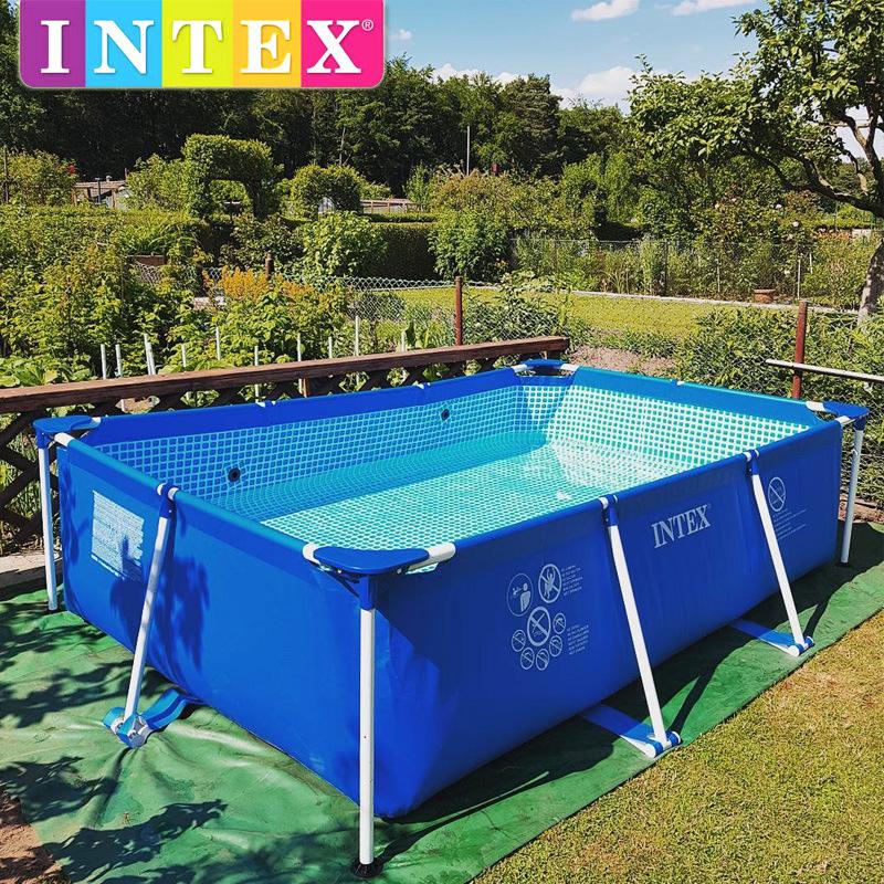 intex超大号家庭成人支架游泳池家用加厚大型儿童充气水池钓鱼池
