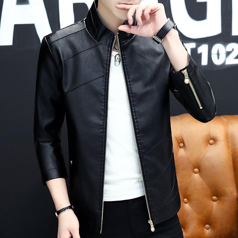 男士皮衣春秋季皮夹克修身韩版机车服帅气新款潮流青年外套男立领