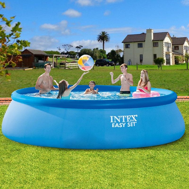 INTEX大型家庭游泳池充气成人水池加高加厚儿童戏水池折叠养鱼池