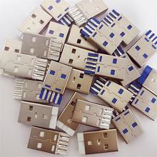 USB插头 USB连接器 数据线插头 2.0自动焊线式短体 铜壳铁壳镀金