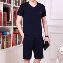 男士大码运动服套装夏季短袖短裤商务休闲套装男中年运动套装男