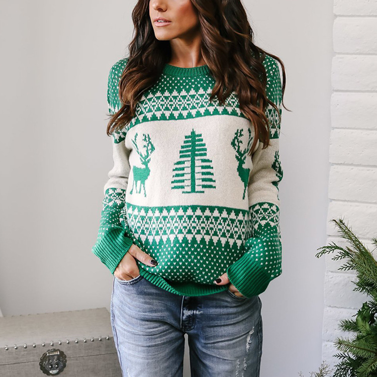 2019秋冬新款欧美圣诞毛衣女速卖通亚马逊爆款几何麋鹿提花针织衫