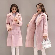 2019冬季新款羊羔毛外套女韩国加绒加厚大衣中长款鹿皮绒翻领棉衣