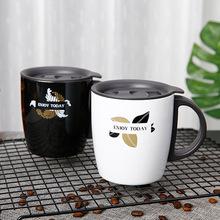 304双层不锈钢保温咖啡杯欧式马克杯带手柄真空办公水杯跨境供货