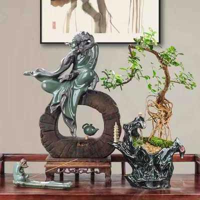 推荐创意陶瓷花盆桌面盆栽苔藓植物多肉盆家居园艺哥窑紫砂盆景盆