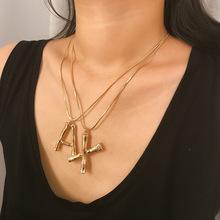 歐美跨境飾品 夸張熔巖幾何項飾女 簡約字母個性百搭短款鎖骨項鏈