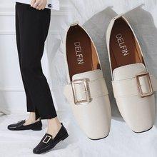 2018秋季新款韓版方頭皮帶扣裝飾平底單鞋小皮鞋女式瓢鞋
