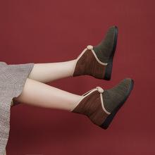 不一样952 爆款棉鞋女冬季保暖加绒提花民族风坡跟雪地女棉靴