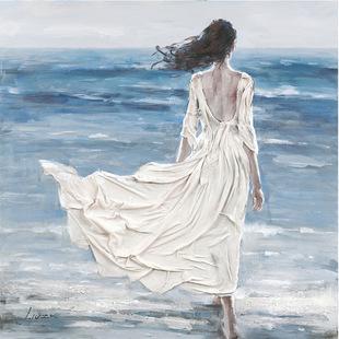 手绘画 油画 海边