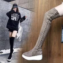 过膝靴女长筒靴女鞋子2019秋冬新款松糕底中跟平底长靴弹力靴女靴