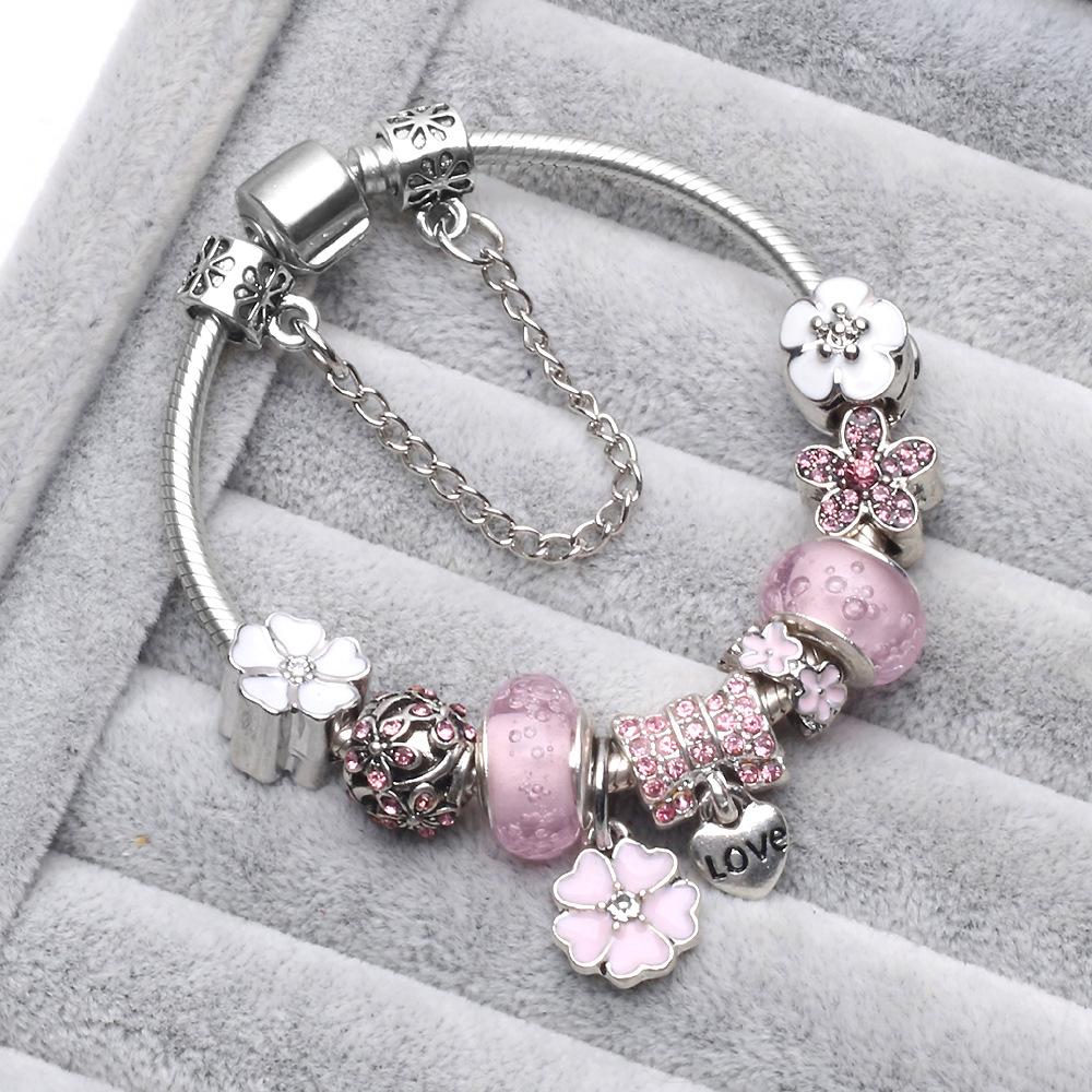 新款欧美时尚 纯手工艺气泡珠多拉樱花复古水晶DIY手链