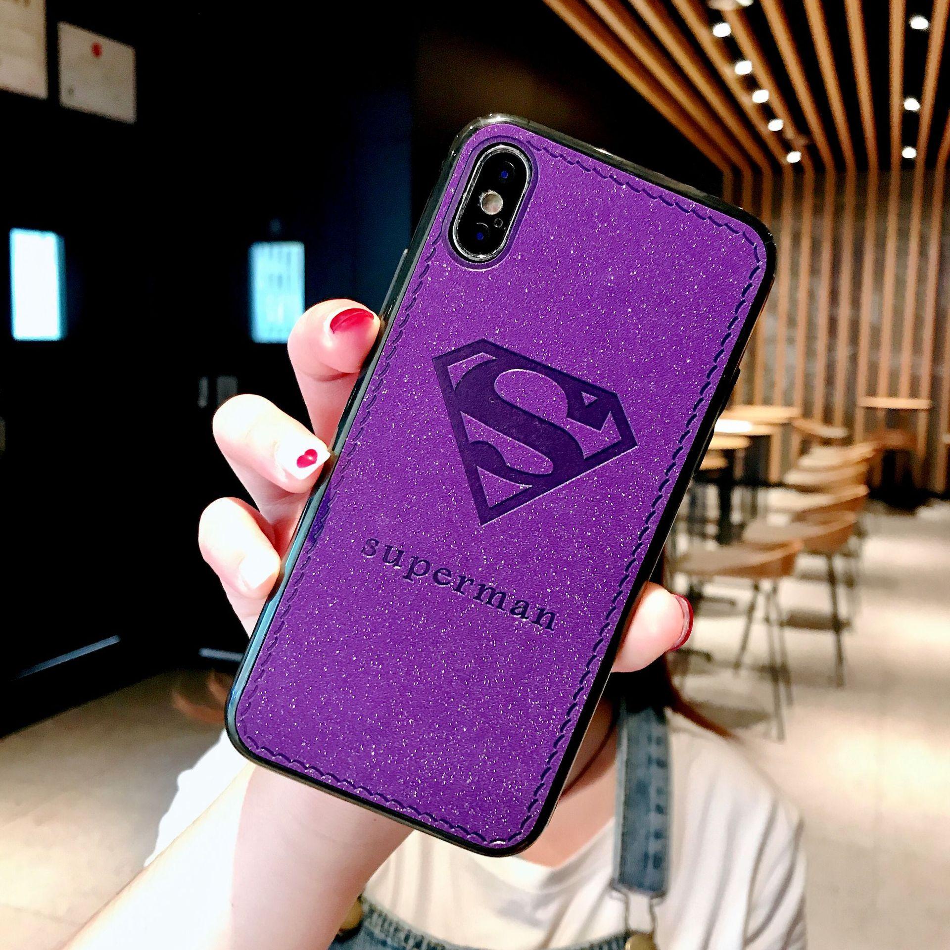 花轴新款适用于布纹手机壳xsmax保护套闪粉压皮手机壳iphone苹果超人搓鸡眼图片