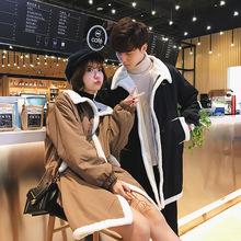 情侣棉衣男士2018韩版羊羔毛加绒加厚韩版潮流学生宽松中长款冬装