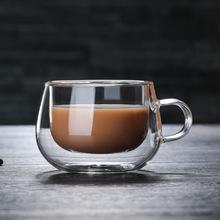双层玻璃杯 高硼硅透明创意水杯 耐热带把咖啡杯批发定制logo水杯