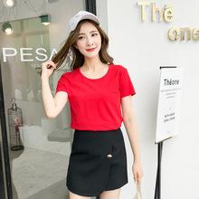 2019夏季新款修身红色t恤女款 纯色打底衫短袖韩版学生半袖上衣