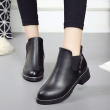 2018新款春季女鞋马丁靴英伦风中跟单鞋女短靴及裸靴平底女靴子