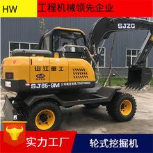 小型85轮式挖掘机 全液压型75型小挖机 挖土机配选多种挖掘机属具图片