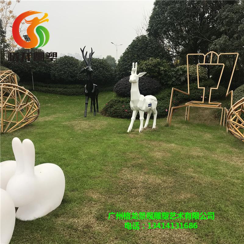 玻璃钢抽象几何鹿园林雕塑景区公园切面梅花鹿摆件树脂动物模型
