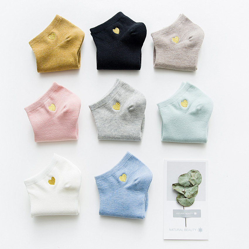 2019 year new fund is elegant and inwrought socks of female boat of love design cotton is polychroma