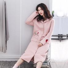 奧立美秋冬季女長袖純棉夾層家居服可愛韓版加厚保暖夾棉長款睡袍