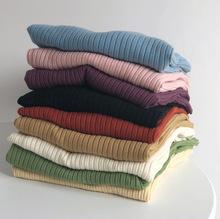 2019冬季新款韩国竖条纹弹力圆领针织衫女装毛衣打底衫一件代发
