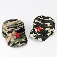 儿童迷彩帽学生军训帽大童五角星平顶帽子男女童遮阳帽亲子棒球帽