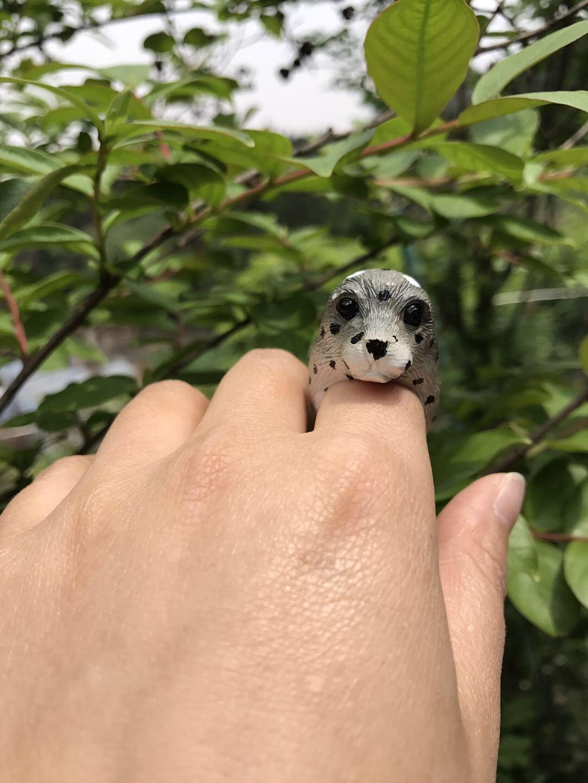 纯手工制作立体软陶泥动物戒指指环 泥捏小海豹造型可爱戒指饰品