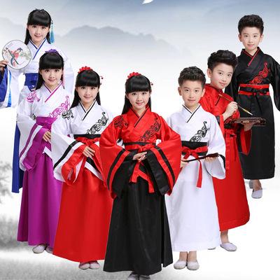 儿童古装汉服国学书童服装男女童古筝表演三字经弟子规朗诵演出服