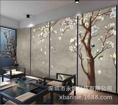 新中式手绘素色雅致玉兰花装饰背景墙壁画卧室硬包绢丝定制客厅