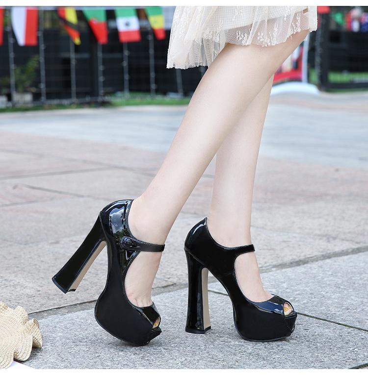 2019女士优雅气质风范欧美时尚原单新款高跟防水台高跟鞋跨境供货