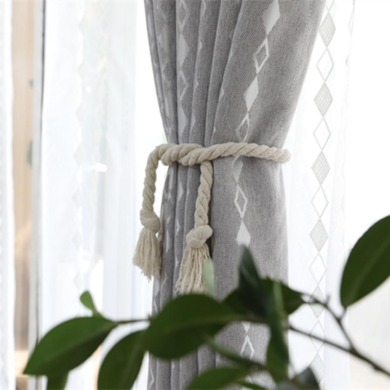 爆款直销小清新简约涤阳麻遮光面料阳台卧室客厅北欧窗帘加工定制