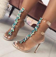 欧洲站外贸新款彩色水钻链条透明高跟鞋性感夜店水晶凉鞋大码42