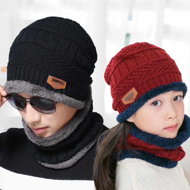 9524秋冬加絨套帽男針織帽子圍脖兩件套冬季護耳親子毛線帽子批發