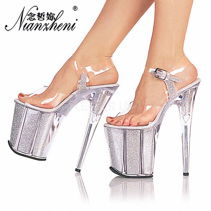 厚底恨天高昕薇推荐20厘米超高跟凉鞋夜场TS道具闪粉彩芯夜店凉鞋