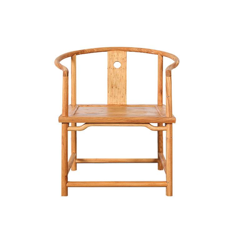 厂家直销榆木家具新中式榫卯环保免漆烫蜡圈椅实木茶餐椅子定做