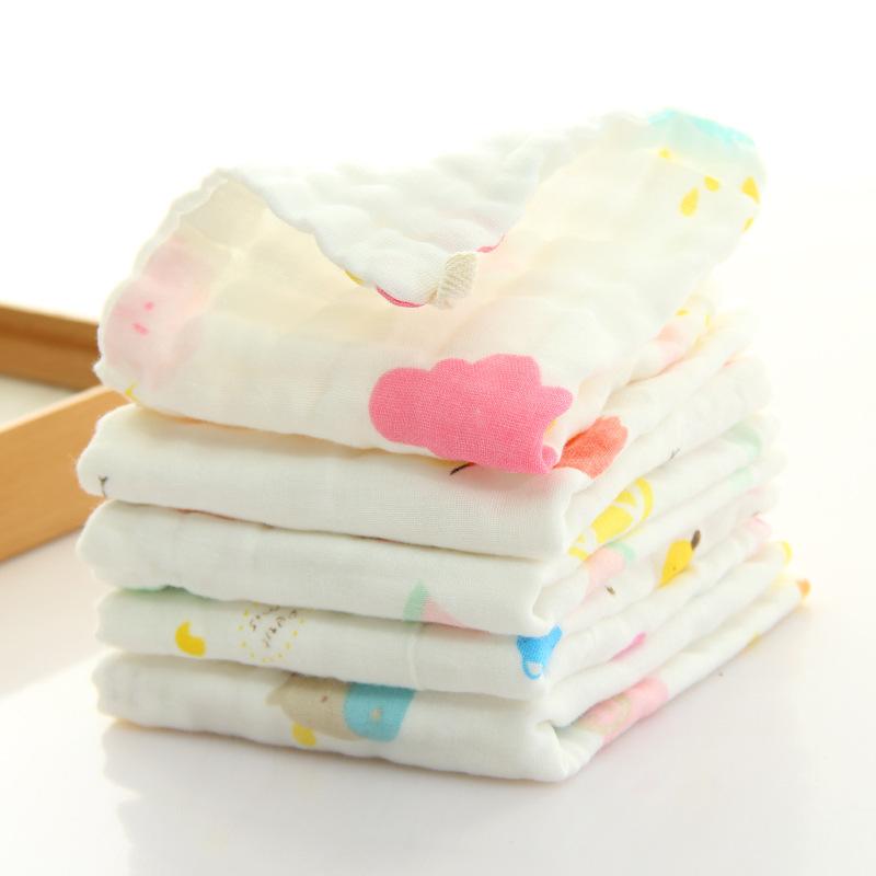 跨境 高密度纯棉6层纱布方巾小毛巾泡泡巾新生儿宝宝洗脸巾母婴