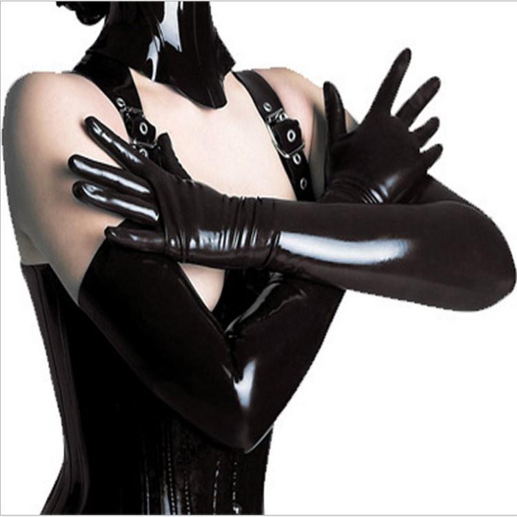 中长漆皮手套女情趣内衣配饰长款过肘皮质手套分指袖套分指手臂套