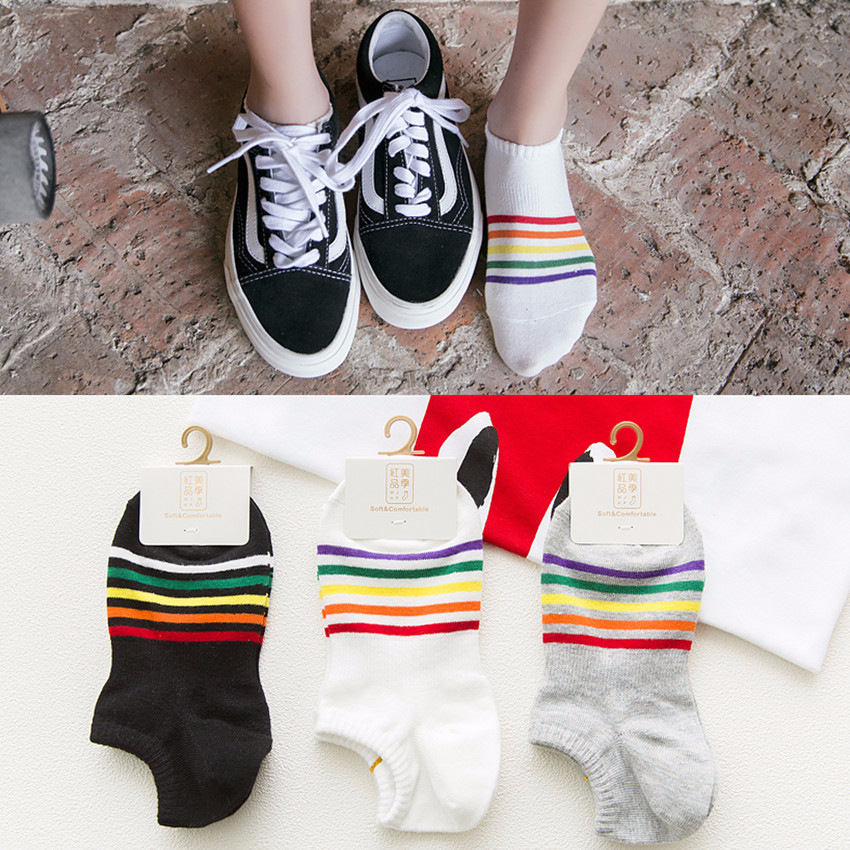 Sock of motion of tide of vogue of cotton of socks of female boat of rainbow candy strip is wholesal