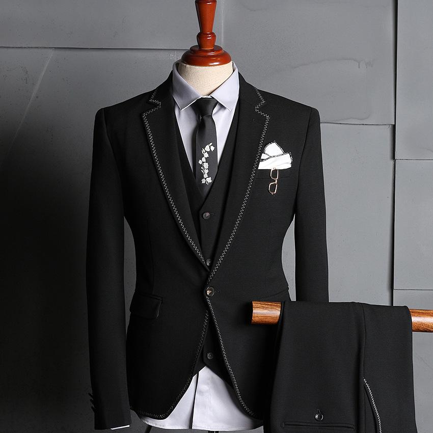 秋季新款男式西服套装职业装男韩版休闲西装修身潮男结婚礼服伴郎