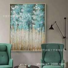 现代客厅沙发背景入户走道玄关美式抽象发财树装饰酒店工程挂画