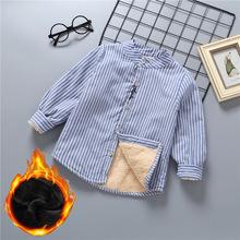 加绒男童衬衫棉长袖2018新款儿童保暖衬衣秋装洋气加厚冬季中大童