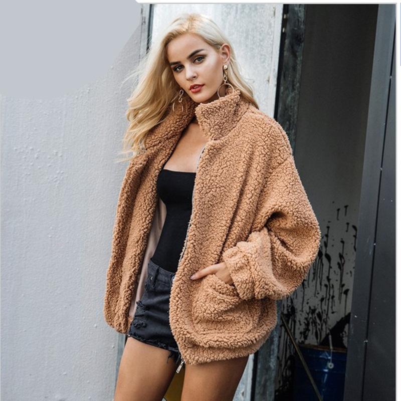 仿皮草羊羔毛外套女装秋冬欧美毛绒外套休闲长袖立领棉衣大衣女