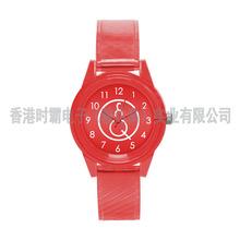 手表厂批发透明糖果色塑胶学生手表时尚简约wish爆款石英腕表