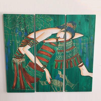 天然创意纯手工绘画工艺品 创意挂画木板画 民族风工艺品手绘画图片