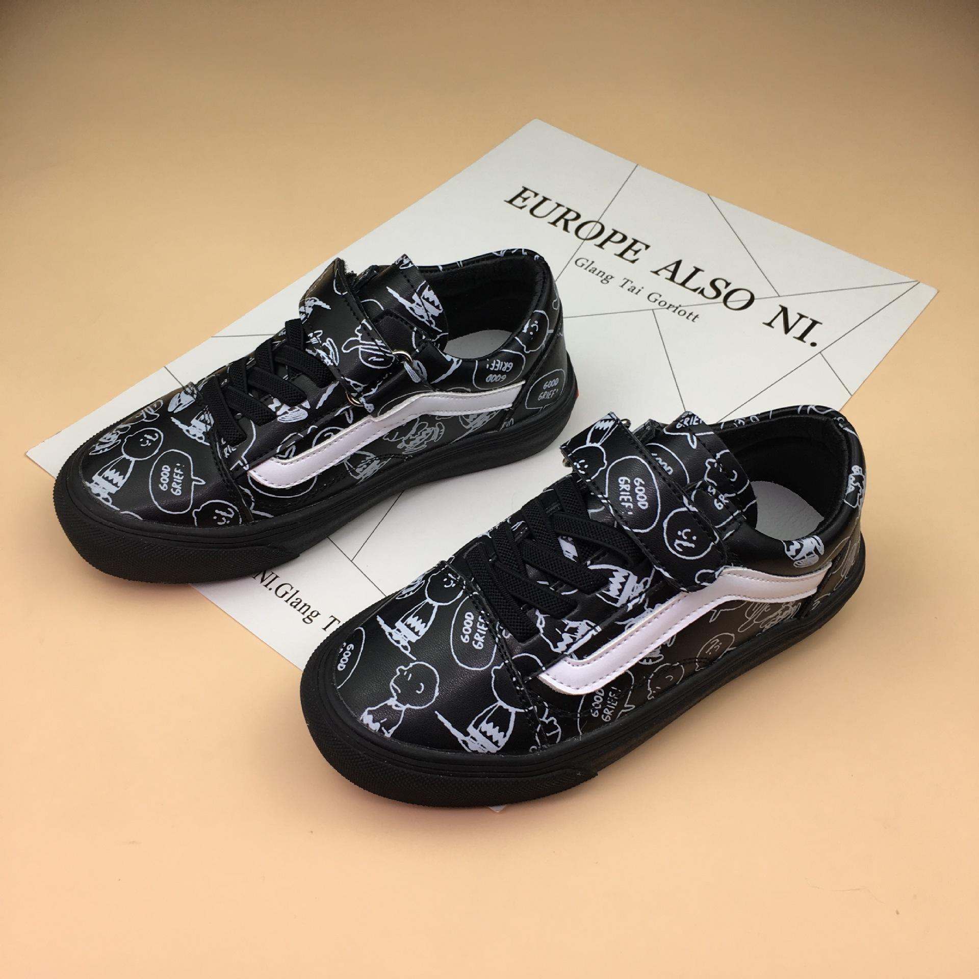 2018春季新款儿童板鞋男女童手绘涂鸦休闲鞋韩版时尚真皮软底潮鞋