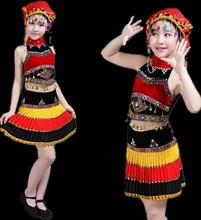 2018新款彝族演出服成人女童百褶裙表演服苗族黎族少数民族舞