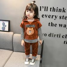 2019韩版春秋童装 外贸儿童套装 女童运动服小熊三件套宝宝长袖